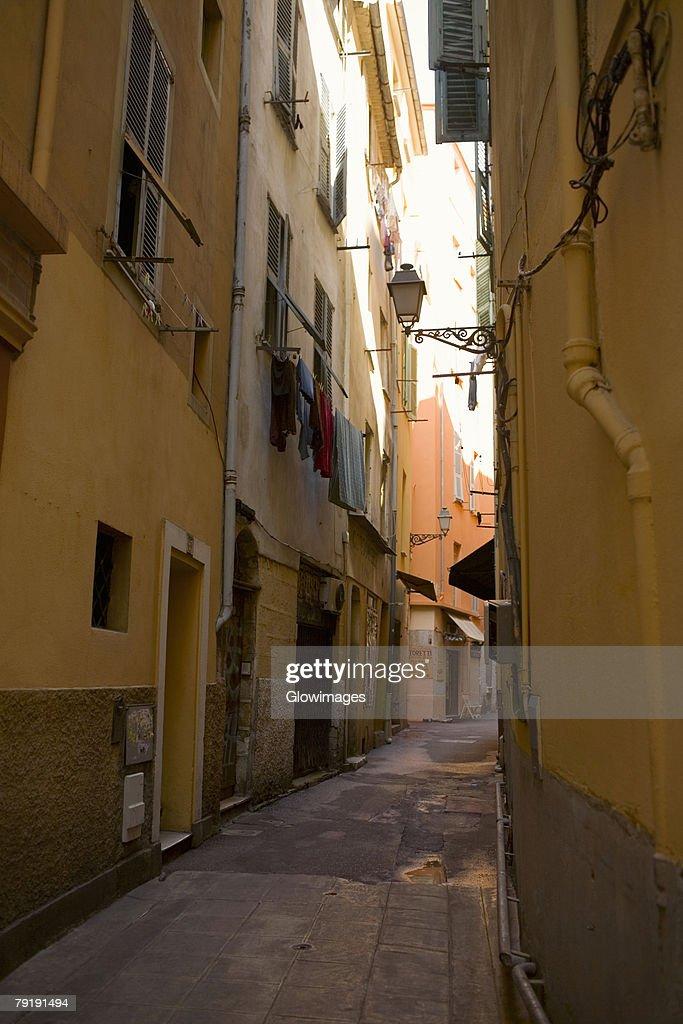 Buildings along an alley, Nice, France : Foto de stock