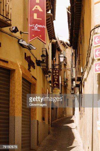 Buildings along an alley, Toledo, Spain : Foto de stock
