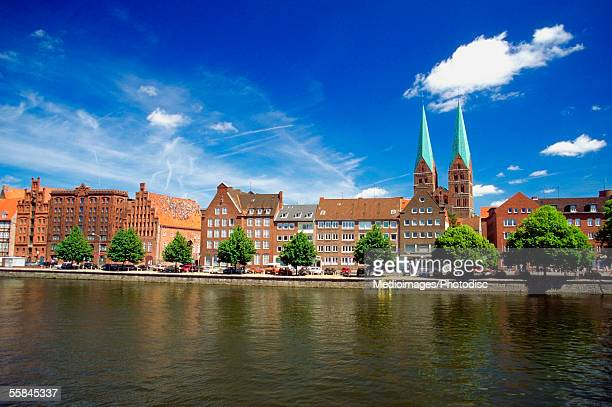 Buildings along the riverside, Trave River, Lubeck, Germany
