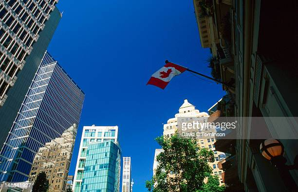 Buildings and Canadian flag, Burrard Street.