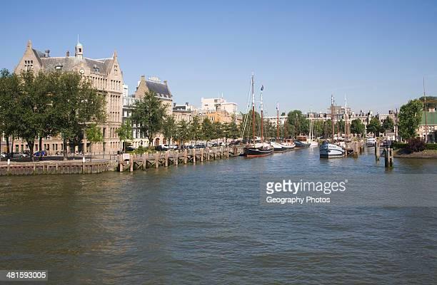 Buildings and harbor historic Veerhaven Rotterdam Netherlands