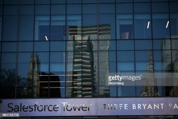 Buildings are reflected in the windows of the Salesforce Tower in New York US on Friday April 28 2017 Salesforcecom Inc is scheduled to release...