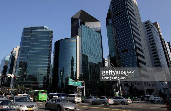 Buildings are seen at the shopping district in Seoul's Gangnam District on September 24 2012 in Seoul South Korea The Gangnam District is the...