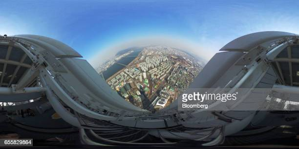 Buildings are seen from the roof top of the Lotte Corp World Tower in Seoul South Korea on Thursday March 16 2017 After almost seven years of...