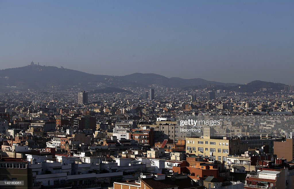 Buildings are seen on the skyline of Barcelona, Spain, on Wednesday, Feb. 29, 2012. The Mobile World Congress, operated by the GSMA, expects 60,000 visitors and 1400 companies to attend the four-day technology industry event which runs Feb. 27 through March 1. Photographer: Chris Ratcliffe/Bloomberg via Getty Images