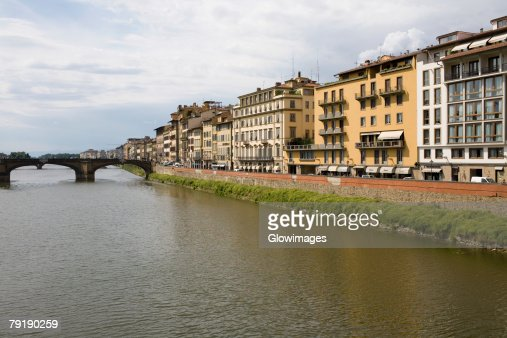 Buildings at the waterfront, Arno River, Florence, Italy : Foto de stock