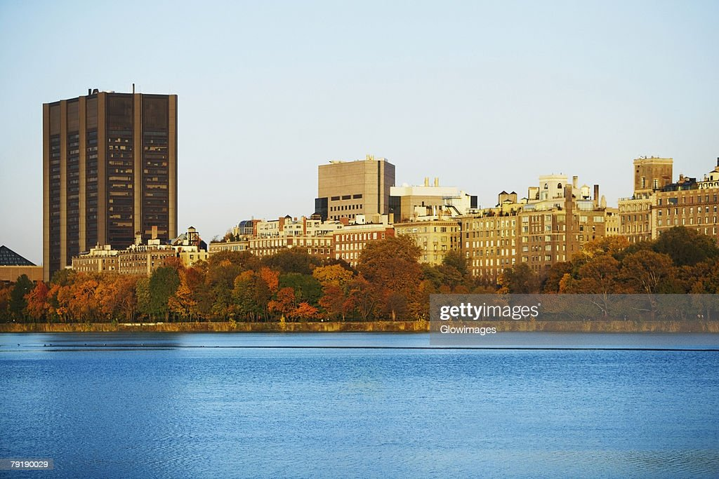 Buildings at the waterfront, Central Park, Manhattan, New York City, New York State, USA : Stock Photo