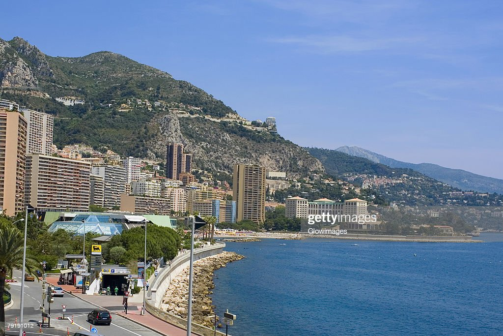 Buildings at the waterfront, Monte Carlo, Monaco : Foto de stock