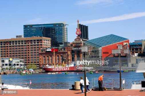 Buildings at the waterfront, National Aquarium, Inner Harbor, Baltimore, Maryland, USA : Stock Photo