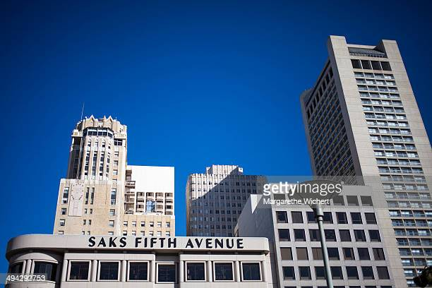 Buildings at Union Square Park with Saks Firth Avenue on October 10 2013 in San Francisco United States