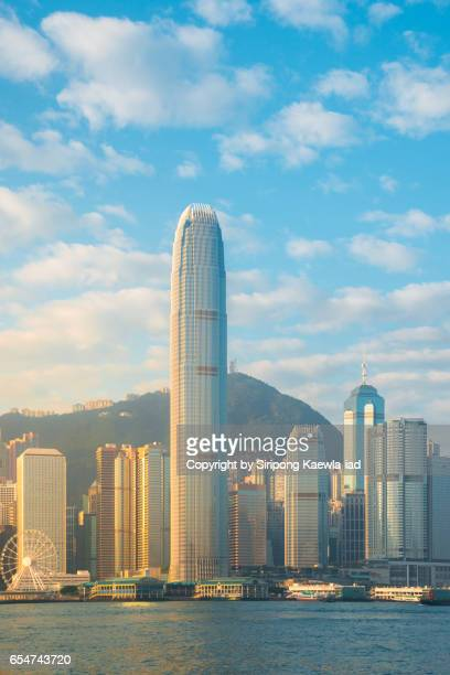 Buildings in business and financial district area of Hong Kong in the morning time.