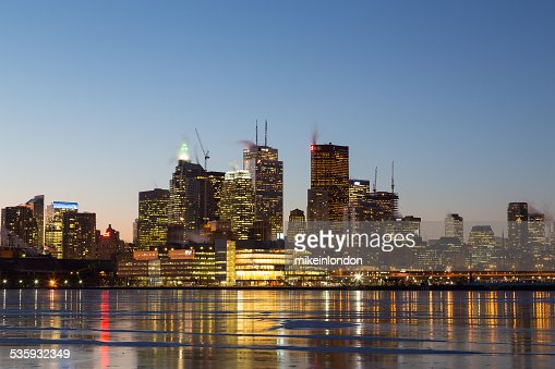 Buildings in Downtown Toronto in the Winter at Night : Stock Photo