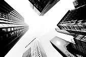 Buildings in Black and White, Low angle view, NYC, USA.