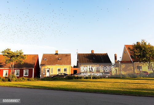 Buildings in sunny day