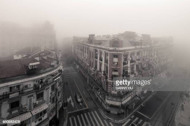 buildings in the bund in a foggy morning,Shanghai