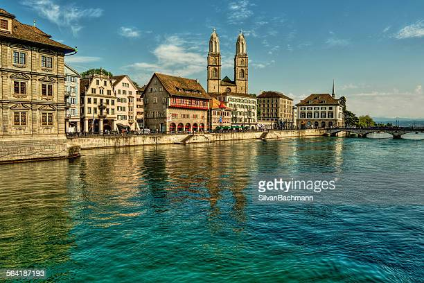 Buildings lining the river Limmat, Zurich, Switzerland