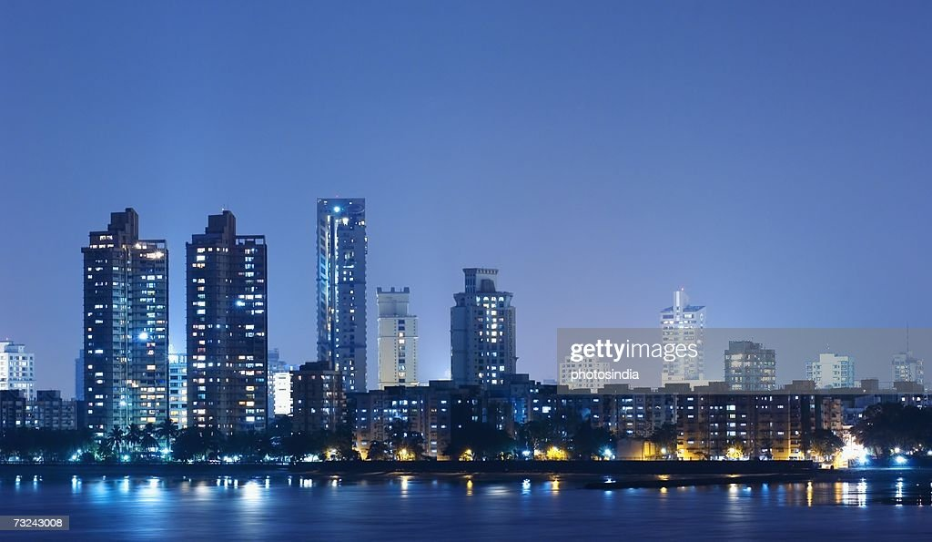 Buildings lit up at dusk, Mumbai, Maharashtra, India