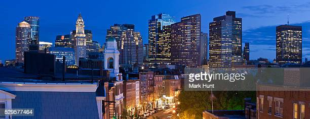 Buildings lit up at night in a city, Hanover Street, Boston, Massachusetts, USA