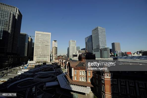 Buildings of the financial and business of Marunouchi and Otemachi in Tokyo Japan on February 10 2015 Japanese Prime Minister Shinzo Abe want to...