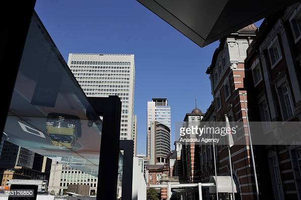 Buildings of the financial and business of Otemachi and Marunouchi distict in Tokyo Japan on February 10 2015 Japanese Prime Minister Shinzo Abe want...