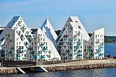 Buildings of the residential complex 'Isbjerget' (Iceberg) in Aarhus in Denmark