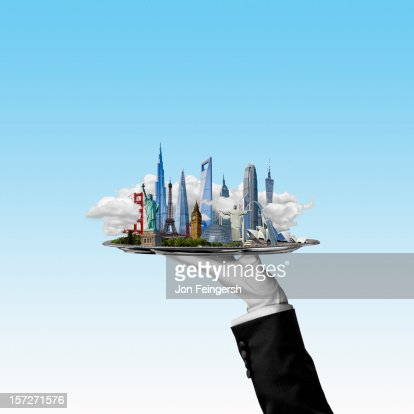 Buildings of the World cityscape on silver platter : Stock Photo