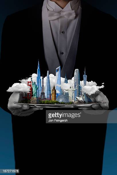 Buildings of the World cityscape on silver platter
