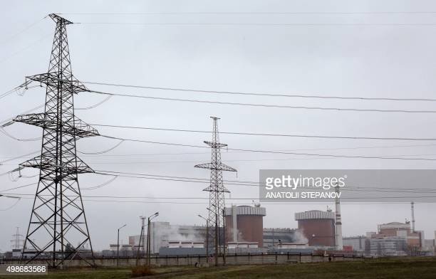 Buildings of the Yuzhnoukrainsk nuclear power plant are seen in the town Yuzhnoukrainsk Mykolaiv region 300 kilometres south of Kiev on November 25...