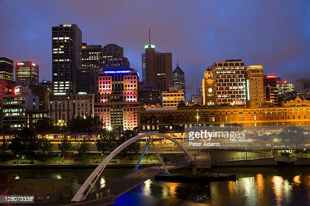Buildings on bank of Yarra river, Victoria, Melbourne, Australia