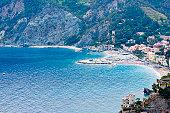 Buildings on the coast, Ligurian Sea, Italian Riviera, Cinque Terre, La Spezia, Liguria, Italy