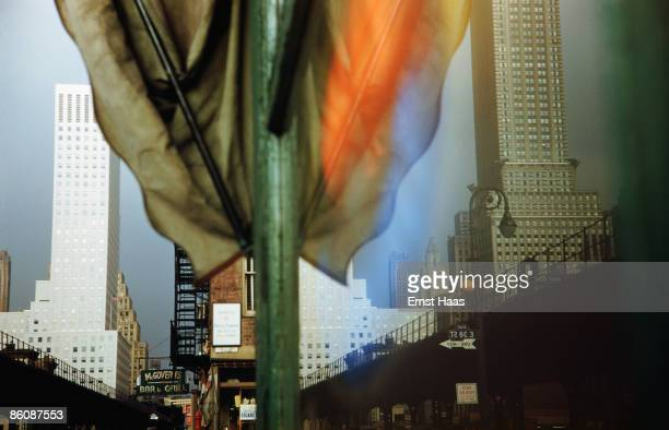 Buildings on Third Avenue New York reflected in a shop window 1952