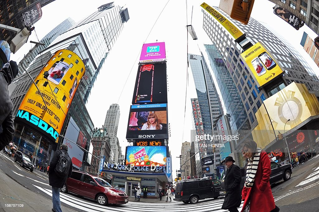 Buildings on West 42nd Street December 27, 2012 in New York's Times Square. AFP PHOTO/Stan HONDA