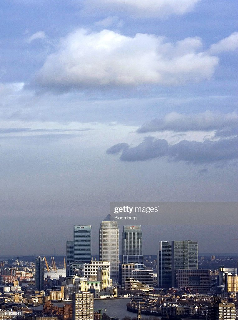 Buildings stand at the Canary Wharf development including the HSBC tower Citigroup centre and the Credit Suisse offices viewed from the City of...