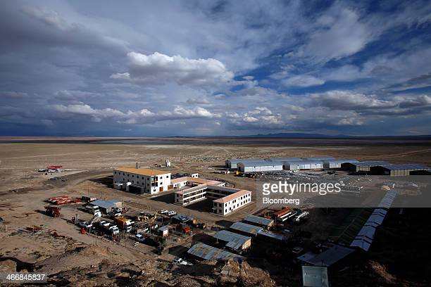 Buildings stand at the state mining company Comibol's lithium production plant in Llipe Bolivia on the edge of the Uyuni Salt Flats on Wednesday Jan...