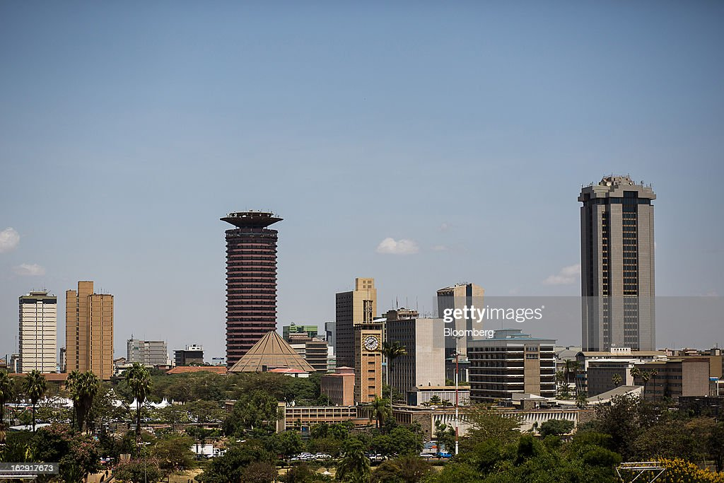 Buildings stand in the city skyline of Nairobi, Kenya, on Friday, March 1, 2013. Next week's presidential vote will be the first since disputed elections in 2007 triggered ethnic fighting in which more than 1,100 people died and another 350,000 fled their homes. Photographer: Trevor Snapp/Bloomberg via Getty Images