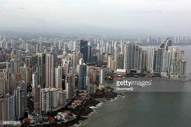 Buildings stand in the skyline in this aerial photograph taken in Panama City Panama on Monday April 21 2014 Panama has averaged about 9 percent...