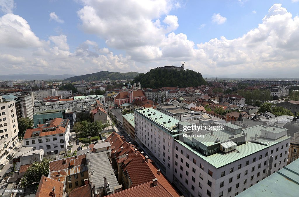 Buildings stand on the city skyline in Ljubljana, Slovenia, on Tuesday, May 7, 2013. Slovenia plans to increase taxes to make up for the swelling budget shortfall as the country works to recapitalize its banks. Photographer: Chris Ratcliffe/Bloomberg via Getty Images