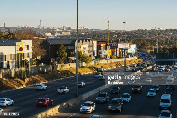 Buildings stand on the city skyline in the Central Business District beyond the M1 freeway in Johannesburg South Africa on Thursday June 22 2017...