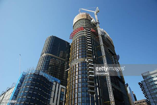 Buildings stand under construction at Lend Lease Group's Barangaroo redevelopment in Sydney Australia on Friday Oct 2 2015 Barangaroo is a new...