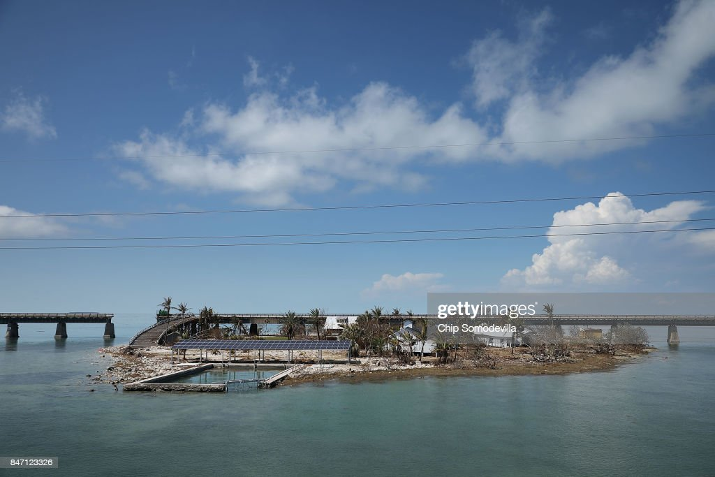 Buildings that sustained damage from Hurricane Irma can be seen on Pigeon Key September 14, 2017 near Marathon, Florida. Many places in the Keys still lack water, electricity or mobile phone service and residents are still not permitted to go further south than Islamorada. The Federal Emergency Managment Agency has reported that 25-percent of all homes in the Florida Keys were destroyed and 65-percent sustained major damage when they took a direct hit from Hurricane Irma.