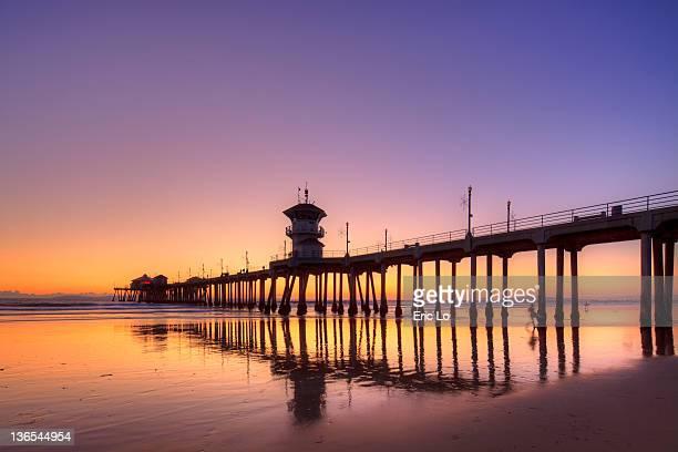 Built structure on pier during dusk