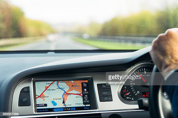 Built-in Audi satellite navigation in use on UK road