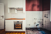 built-in kitchen  before and after  restoration  -  renovation concept -