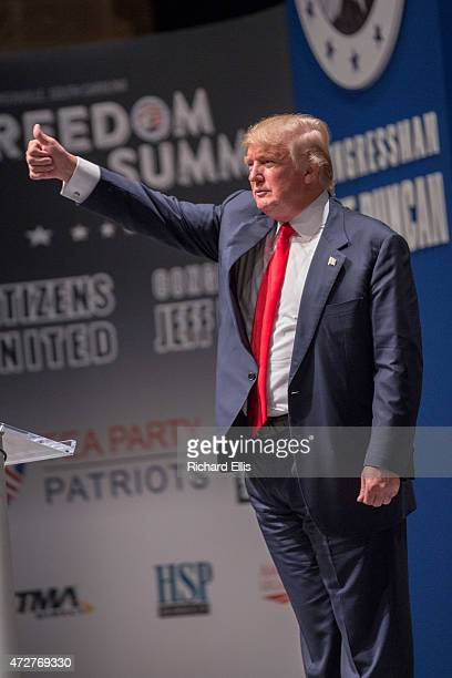 Buisnessman Donald Trump gestures during the Freedom Summit on May 9 2015 in Greenville South Carolina Trump joined potential presidential candidates...