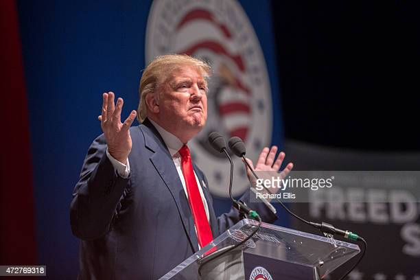 Buisnessman Donald Trump speaks during the Freedom Summit on May 9 2015 in Greenville South Carolina Trump joined potential presidential candidates...
