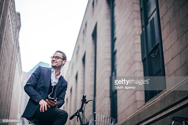 Buisnessman on a bicycle