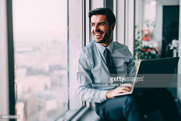 Buisnessman Using Laptop