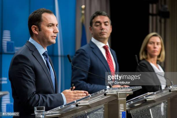 Bujar Osmani Macedonia's Deputy Prime Minister for European Affairs and Nikola Dimitrov Foreign Minister of Macedonia and Federica Mogherini High...
