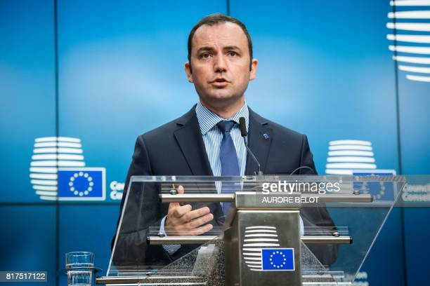 Bujar Osmani Macedonia's Deputy Prime Minister for European Affairs speaks during a press conference after a EUMacedonia Stabilisation and...