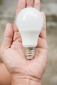 LED bulb in human hand for energy saving concept